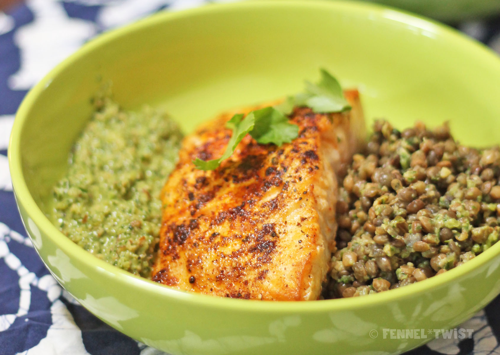 Grilled Salmon with Green Romesco